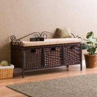 Tuscan Iron and Wood 3 Basket Storage Bench Hall Bench
