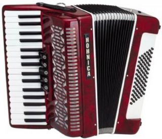 Hohner Hohnica 34x72 Piano Accordion w Case Straps 5 Switch Red 2353