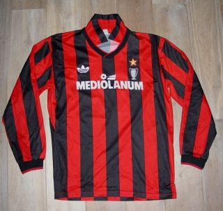 80s ADIDAS AC MILAN MEDIOLANUM FOOTBALL SOCCER SHIRT JERSEY VAN BASTEN