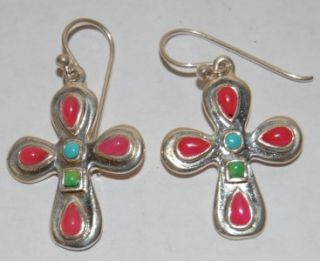 vintage barse 925 silver cross earrings