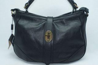 Burberry Bartow Grainy Black Hobo Satchel Tote Handbag Bag