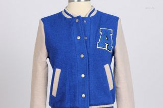 Women Girl Boiled Wool Varsity Baseball Jacket Blue s M L