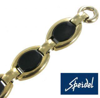 Speidel Watch Band Vintage 10K Yellow Gold RGP Black Split Ring Ladies