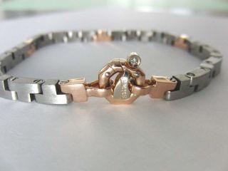 Baraka Men Stainless Steel Solid 18K Rose Gold Bracelet