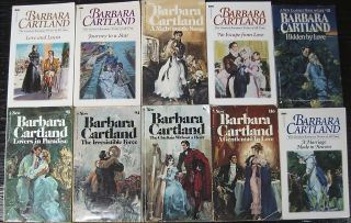 Vintage Lot of 54 Barbara Cartland Romance Paperback Books