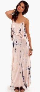 NWTS Boho Lt Pink Striped Salmon Tie Dye Deep Back Ruffle Maxi Dress