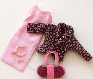 barbie doll clothes dress and barbie doll jewelry set and bag