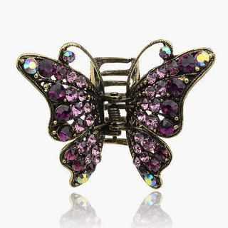 3D Butterfly Barrette Copper VTG Style Swarovski Crystal Hair Claw
