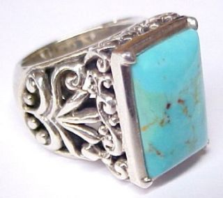 Barse Blue Turquoise Accented Sterling Silver Womens Ring Size 8