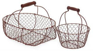 Shabby French Country Chic s 2 Red Wire Baskets Egg Baskets Home Decor