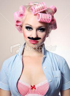 Moustache, Femmes, Poilu, Bigoudi, Humour Photo libre de droits