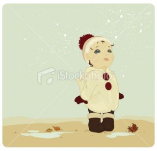 Child enjoying the first snow Royalty Free Stock Vector Art