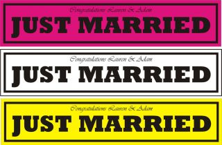 JUST MARRIED NUMBER PLATE PERSONALISED WEDDING CAR SIGN