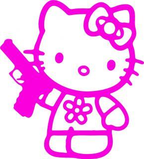 HK17) *HELLO KITTY GUN* CHOOSE COLOUR DECALS CAR 4x4 4WD IPOD IPAD