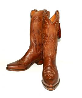 USA Lucchese Mens N1596 Tan Burnish Ranch Western Boots / Snip Toe