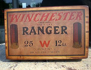 Winchester Ranger Shot Shell Wood Ammo Box 11X7X4
