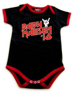 BABY iron MAIDEN 13 BLACK & RED ROMPER BABY SUIT SHIRT METAL 6 12