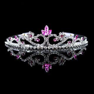 3cm High Wedding Prom Pink Crystal Bridal Flower Girl Tiara Headband