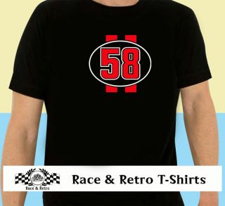 Race & Retro   Classic Marco Simoncelli Race Number T Shirt