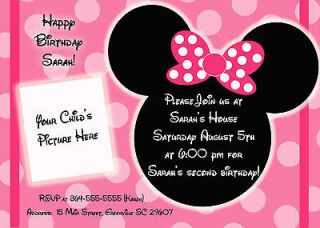 Cute Minnie Mouse Inspired Birthday Invitations  Personalized  (You