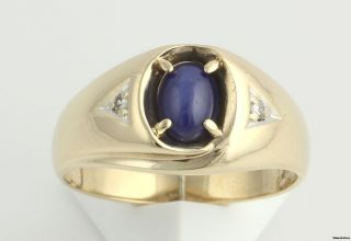 00ct Synthetic Star Sapphire Mens Ring   10k Yellow Gold .04ctw