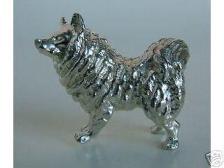 miniature sterling silver siberian huskie dog figurine  261