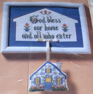 1988 God Bless Our Home Floral Cross Stitch Kit w/ Frame & Mini