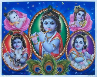 baby lord krishna five views poster 9 x11 3271 from