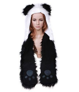 Panda Full Animal Hood Hoodie Hat with Scarfs & Mitten Faux Fur 3 in 1