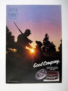 Copenhagen Snuff Hunter & Hunting Dog Scene 1987 print Ad