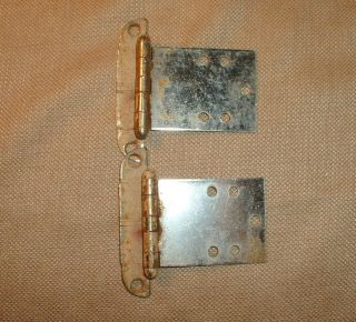 Old Antique Ice Box Icebox Hinges Chrome Color Rectangle Shape
