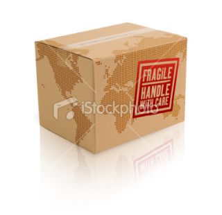 World Cardboard Box w/Clipping Path Royalty Free Stock Photo