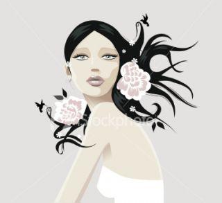 Cheveux, Femmes, Fl, Beauté, Thérapie du bien être Illustration