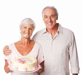 Elderly Woman Holding Birthday Cake   Isolated Royalty Free Stock