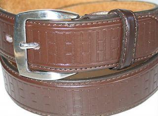 Mens BROWN Leather EMBOSSED Designed WIDE Belt S 30 32 x 1 1/2