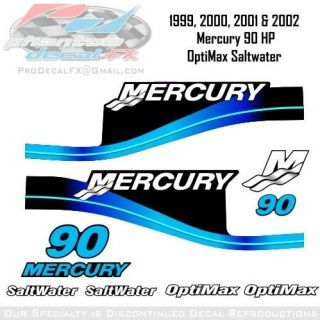 1999, 2000, 2001 & 2002 Mercury 90 HP OptiMax Saltwater 10pc Decals