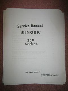 Singer Sewing Machine Service Repair Manual Model 20U Adjustment book