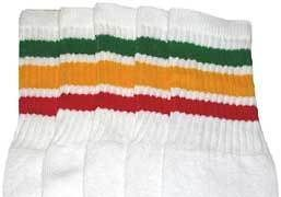"""25"""" KNEE HIGH WHITE tube socks with GREEN/GOLD/RED stripes style 1"""