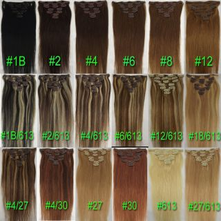 Any Color Length Clip In Remy Real Human Hair Extensions Soft Hair