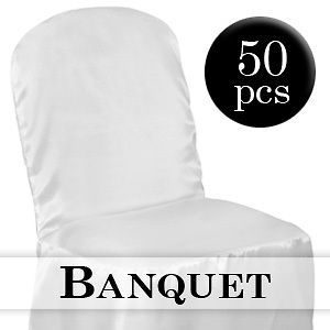50 white satin banquet chair covers wedding party new time