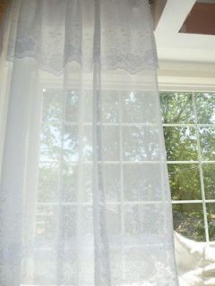 SHABBY COTTAGE CHIC White EMBROIDERED Curtain Drape Panels With Build