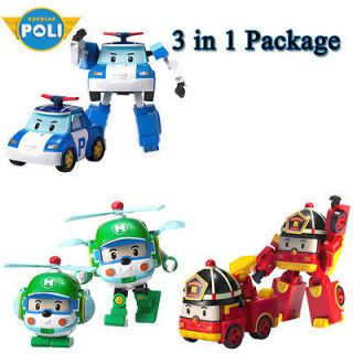 Robocar Poli Poli+Roi+Heli,3 in 1 package, ransformable Robo, Korean