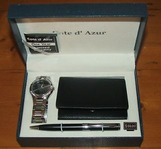 COTE DAZUR MENS WRISTWATCH WALLET AND PEN SET BNIB RRP$99.95