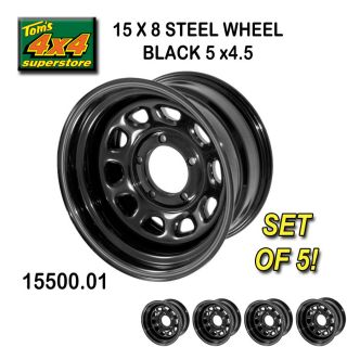 15500.01 15X8 5x4.5 JEEP WRANGLER BLACK Steel Wheels (SET OF 5) YJ, TJ