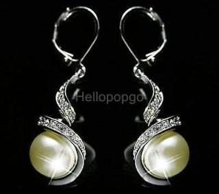 18K White Gold GP Swarovski Crystal With Pearl Earrings C142