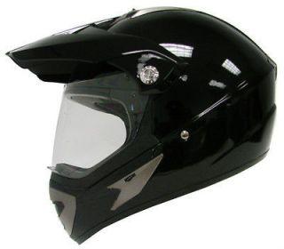 GLOSS BLACK MOTOCROSS MOTORCYCLE UTV DUAL SPORT HYBRID HELMET+SHIELD