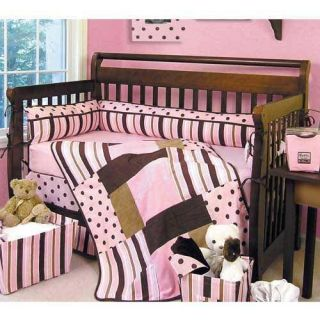 PINK BROWN POLKA DOT STRIPE BABY GIRL INFANT 16 PC NURSERY CRIB