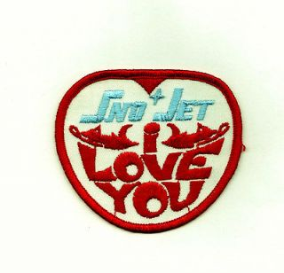 New Vintage Embroider Sno Jet i Love You Snowmobile Patch NOS