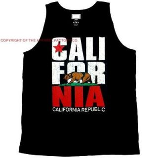 CALIFORNIA REPUBLIC BEAR FLAG Mens BLACK TANK TOP CALI State Pick