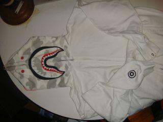 BAPE A Bathing Ape White Shark hoodie 2k7 sz. XL NFS baby milo kanye